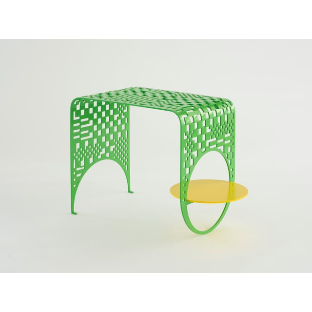 Kin & Company Contemporary Thin Check Table in Powder Coated Steel in White, Yellow, and Green For Sale - Image 4 of 4