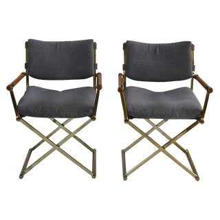 Brass Upholstered Director's Chairs - A Pair