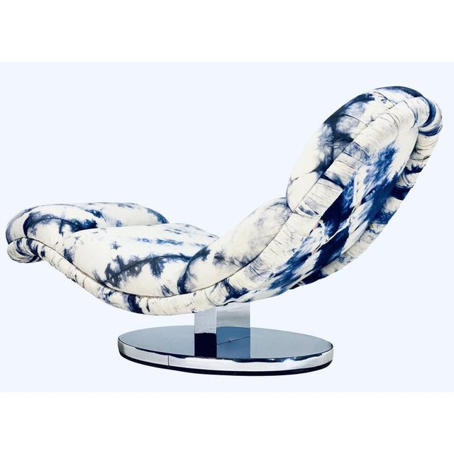 Mid-Century Modern Vintage Milo Baughman Chrome Base Rocking Chaise For Sale - Image 3 of 5