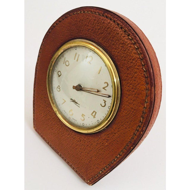 Leather and Brass French Longchamp Desk Clock Jacques Adnet Style For Sale - Image 13 of 13
