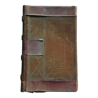 1910 Antique Blank Leatherbound Accounting Ledger For Sale