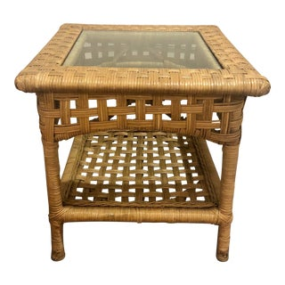 Vintage Boho Chic Woven Wicker and Bentwood Rattan Glass Side Table For Sale