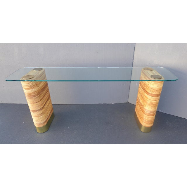 Vintage Mid-Century Double Pedestal Bamboo Rattan Wrapped Glass Top Console Table - Image 4 of 11