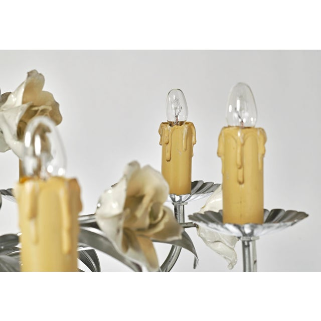 Mid Century Modern Italian Tole Floral Eight Light Chandelier For Sale In Los Angeles - Image 6 of 13