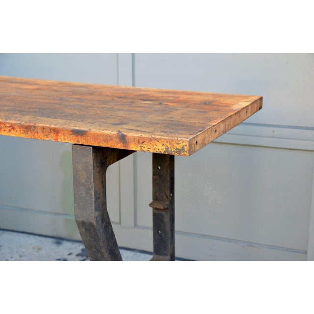 Metal 1920s Massive Patinated Industrial Console For Sale - Image 7 of 9