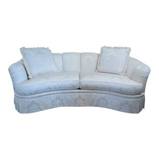 Stickley White Damask Upholstered Sofa & Pillows For Sale