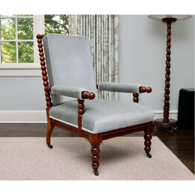 Classic 20th Century Upholstered English Bobbin Turned Lounge Chair on Castors For Sale - Image 12 of 12
