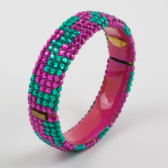 Resin Richard Kerr Pink Turquoise Jeweled Clamper Bracelet For Sale - Image 7 of 8