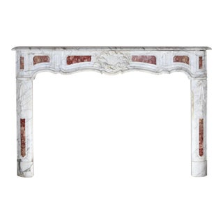 Carrara With Rouge Royale Inlays Mantel For Sale