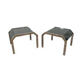 Mid Century Modern Chrome & Smoked Mirror Pair Side Tables For Sale