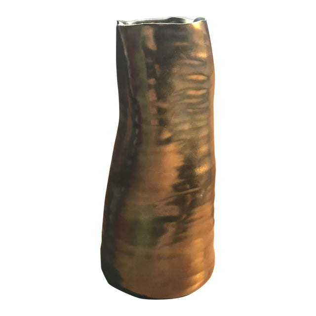 Mid Century Modern Bronzed Ceramic Vase For Sale