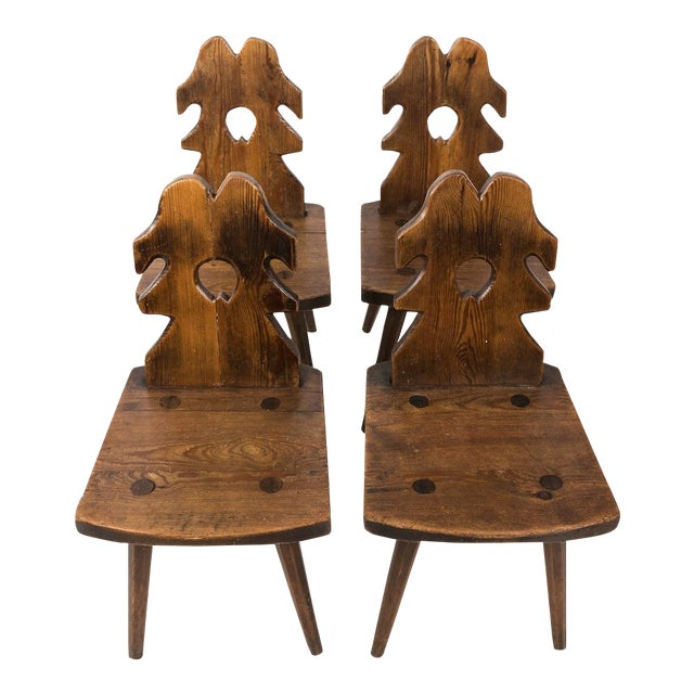 Arts and Crafts Wood Side Chairs - Set of 4 For Sale