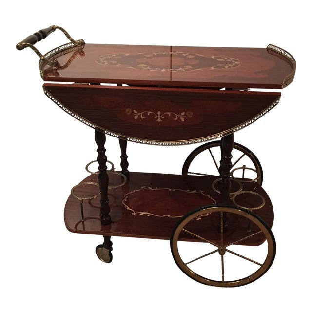 Genuine Italian Marquetry Drop Leaf Beverage Cart - Image 1 of 11