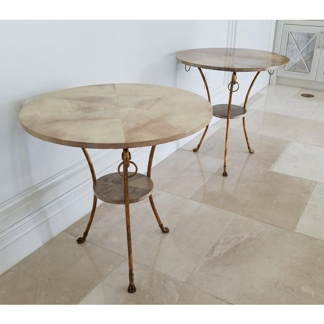 1990s Parcel Gilt Wrought Iron and Goat Skin Tables - a Pair For Sale - Image 5 of 13