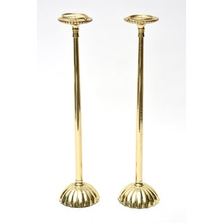 Pair of Vintage Solid Brass Tall Candlesticks