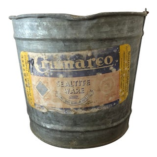 Final Price Vintage Mid-Century Crumarco Galvanized Bucket For Sale