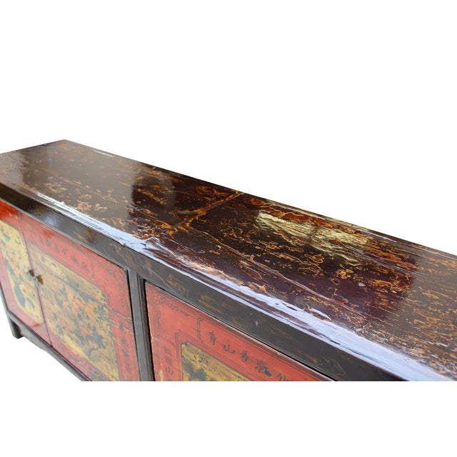 Chinese Distressed Brown Red Doors Long Sideboard Console Table Cabinet For Sale In San Francisco - Image 6 of 9
