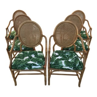 McGuire Style Rattan Chairs-Six For Sale