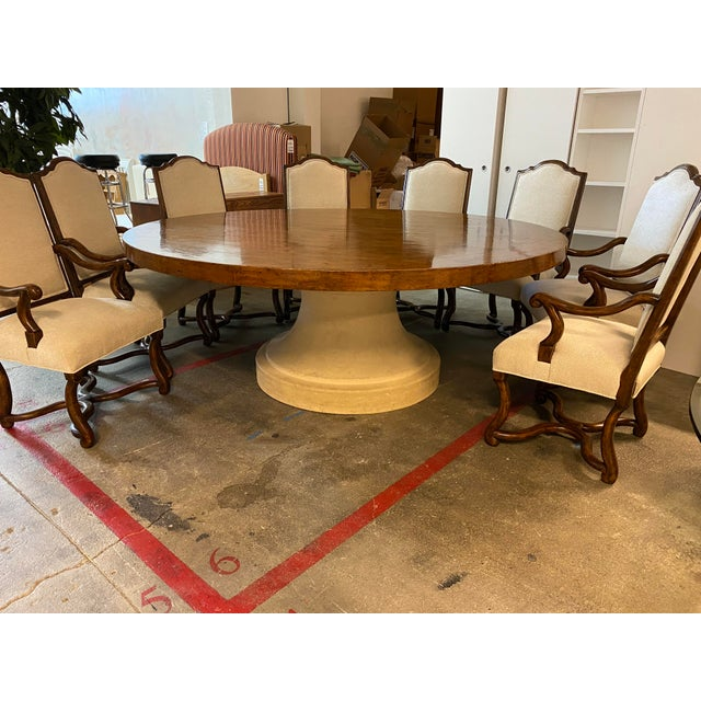2010s Michael Taylor Table + Set of 10 Custom Design Chairs Dining Set For Sale - Image 5 of 13
