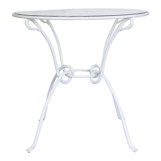 Vintage White Metal Iron Glass Dining Table For Sale