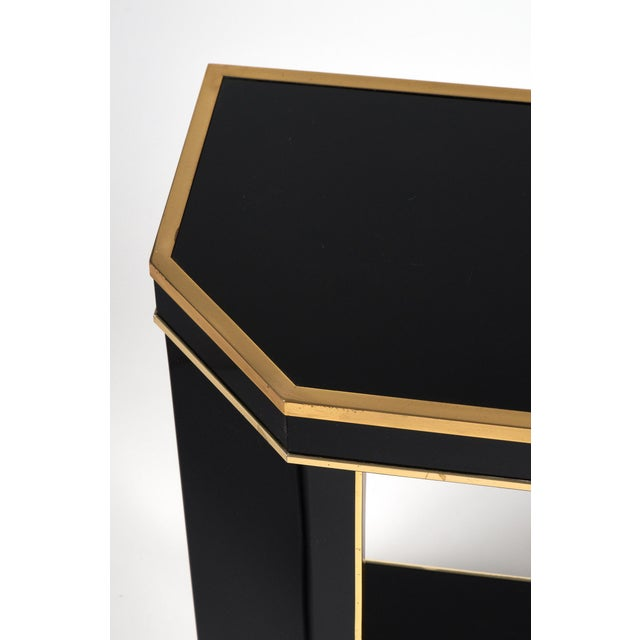 1960s French Black Lucite with Brass Console Table - Image 8 of 9