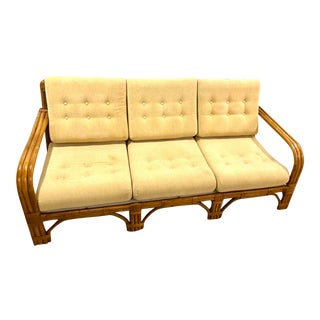 Mid Century Modern Bentwood Bamboo and Rattan Sofa in the Manner of Paul For Sale