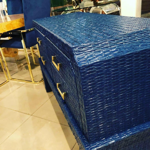 Vintage Blue Lacquered Wicker Brass Credenza Chest Console Table For Sale - Image 4 of 13