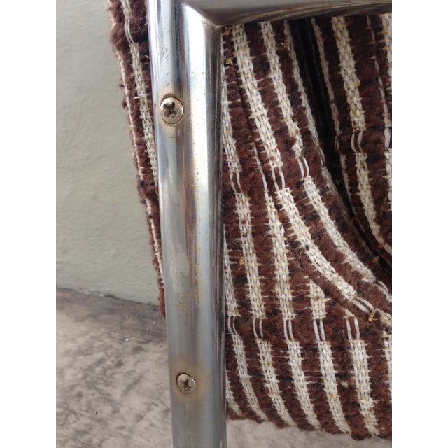 Metal Chrome Upholstered Armchairs - a Pair For Sale - Image 7 of 10