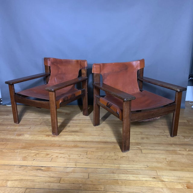 Pair 1970s Saddle Leather Arm Chairs, Mobring Style For Sale - Image 13 of 13