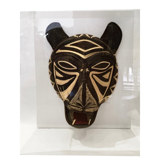 Handmade Woven Shaman Mask in Lucite Box Frame For Sale In Los Angeles - Image 6 of 6