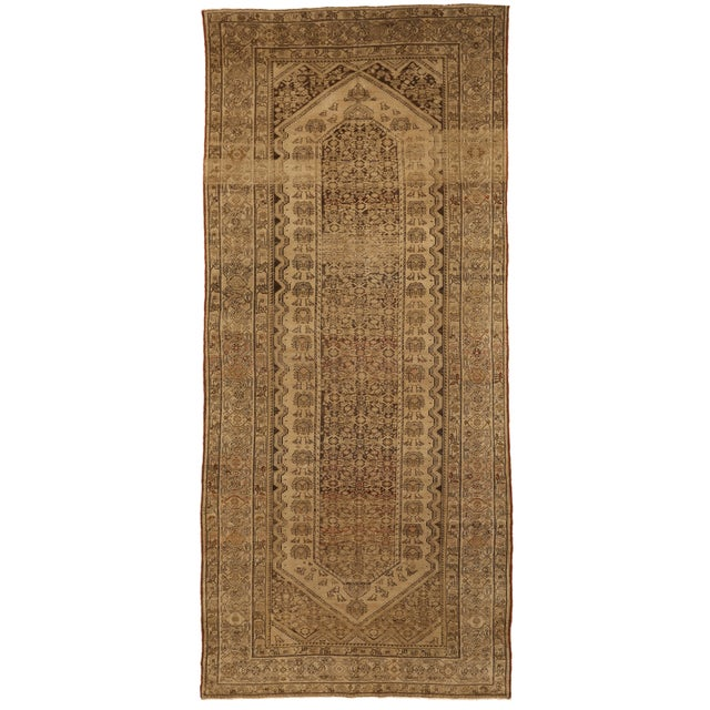 Antique Persian Malayer Rug With Red & Brown Tribal Pattern on Ivory Field- 6′1″ × 13′6″ For Sale - Image 4 of 4