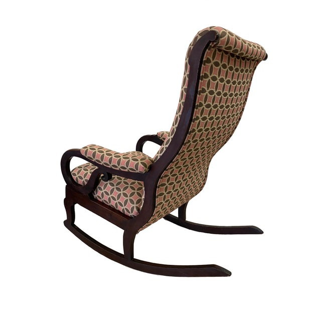 Traditional Antique Empire Rocking Chair With Romo Antara Upholstery For Sale - Image 3 of 7