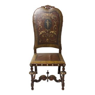 1900s Vintage Flemish Style Carved Walnut and Leather Chair For Sale