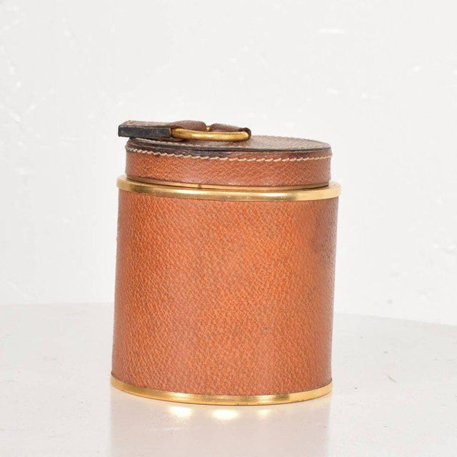 Vintage Hermès Style Leather and Brass Cigarette Holder, Italy, 1950s For Sale In San Diego - Image 6 of 6