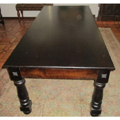 Dimensions: 88 W x 39 D x 30 H This is a great dining room table. I love that it has 2 drawers and iron accents, just adds...