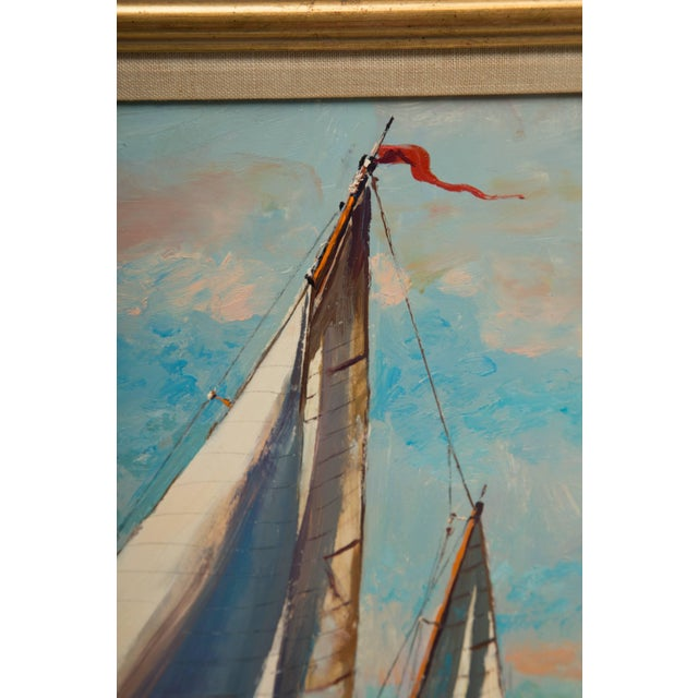 Nautical American Marine Oil Painting on Board by Wayne Morrell For Sale - Image 3 of 7