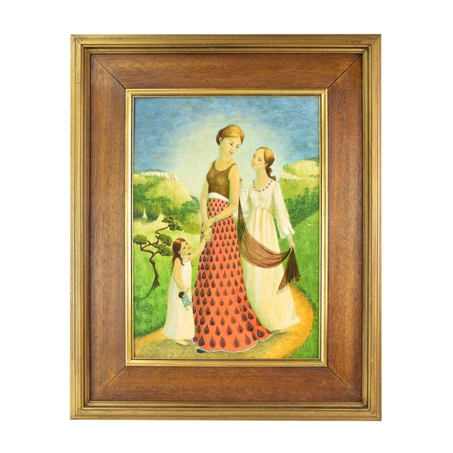Vintage Mother and Two Daughters on Garden Path Oil Painting For Sale