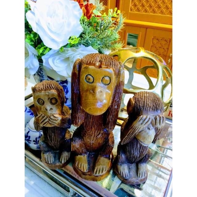 Mid-Century Modern Primitive See No Evil, Hear No Evil, Speak No Evil Wooden Monkey Statues - Set of 3 For Sale - Image 3 of 7