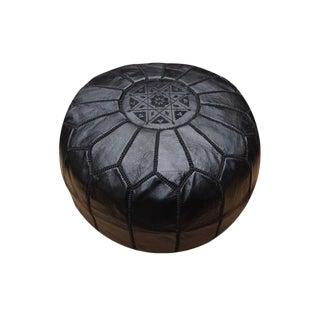 Moroccan Modern Black Pouf For Sale