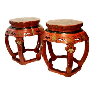 Antique Chinese Red Lacquer Cloisonné Stool Pedestal Side Tables - a Pair For Sale