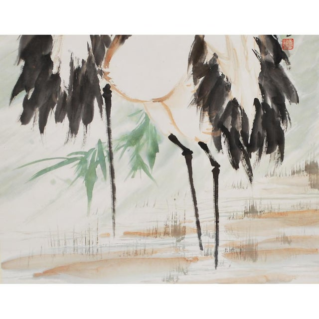 Mid 20th Century Large Mid-Century Japanese Cranes Watercolor Painting For Sale - Image 5 of 7