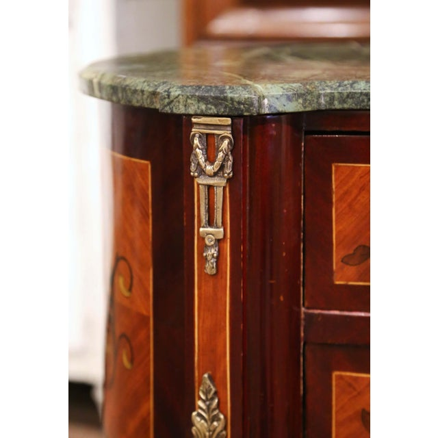 Late 20th Century 20th Century French Louis XV Walnut Commode Chest of Drawers With Marble Top For Sale - Image 5 of 13