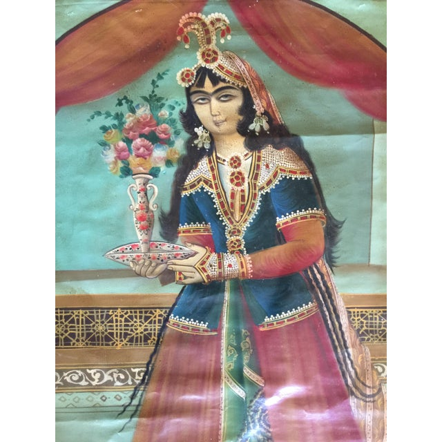 Late 19th Century Antique Early 20th Century Persian Qajar Tea House Oil Painting on Canvas For Sale - Image 5 of 12