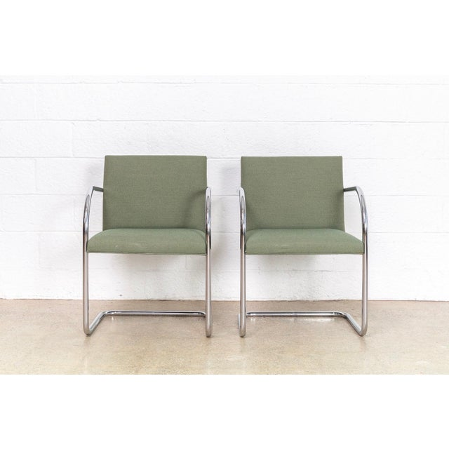 1990s Mies Van Der Rohe Green Brno Chairs For Sale - Image 5 of 11