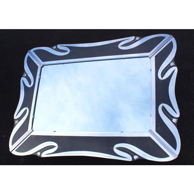 Metal 1950s Mid-Century Modern Etched Glass Mirror For Sale - Image 7 of 13