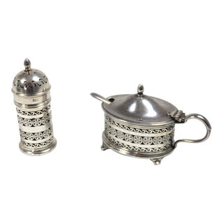 Vintage 1935 Sterling Silver Salt & Pepper Breakfast Set - Set of 3 For Sale