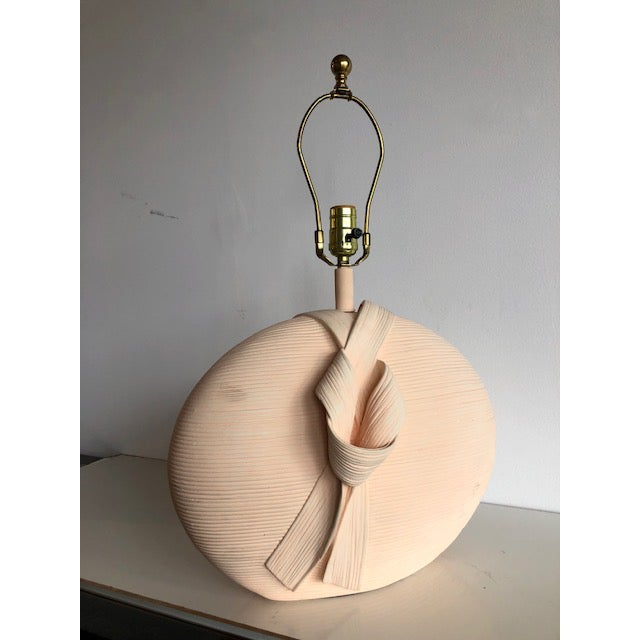 Available for sale: Sculptural 1980s pottery lamp with ribbon detail, great texture. Finished on both sides. Great solid...