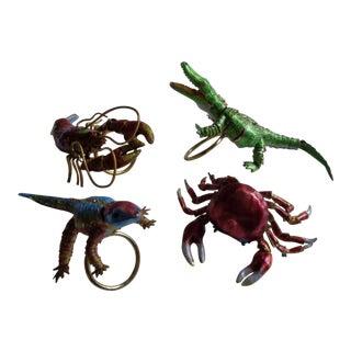 Vintage Cloisonne Articulated Crustacean Napkin Rings - Set of 4 For Sale