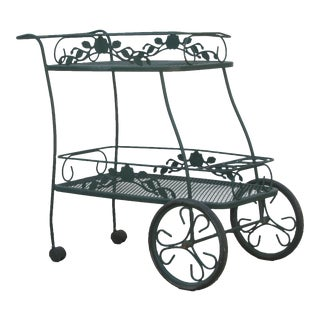 Special Midwest Delivery; Woodward Style Iron Patio / Bar Cart For Sale