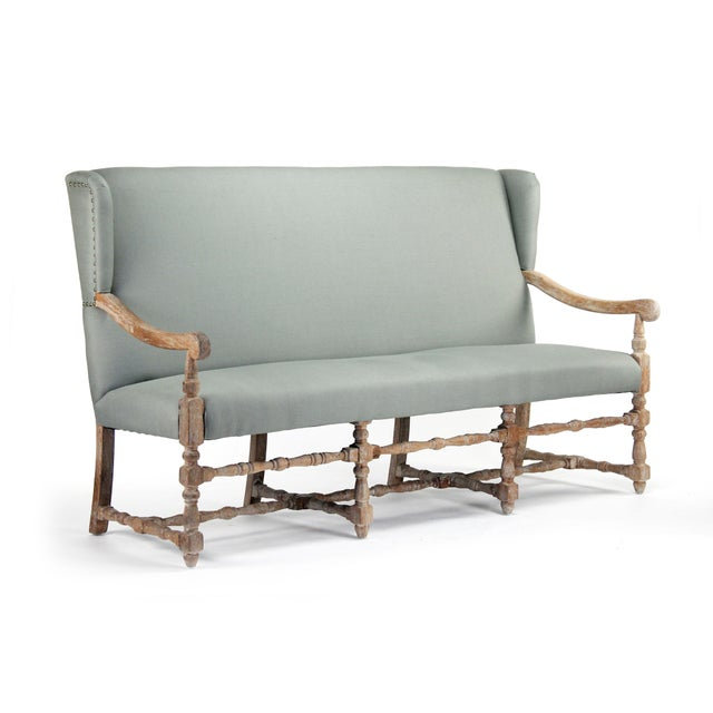 Wood Leyland Bench in Gray For Sale - Image 7 of 7